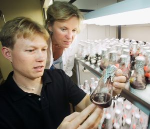 Mary Ann Lila, professor, plant physiology. With nutritional sciences doctoral student Tristan Kraft.